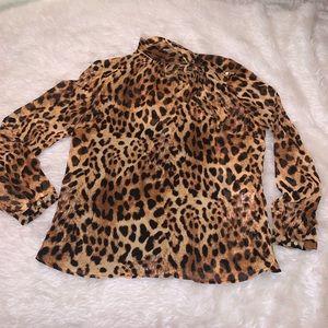 Black cheetah bow blouse petite m Liz Claiborne